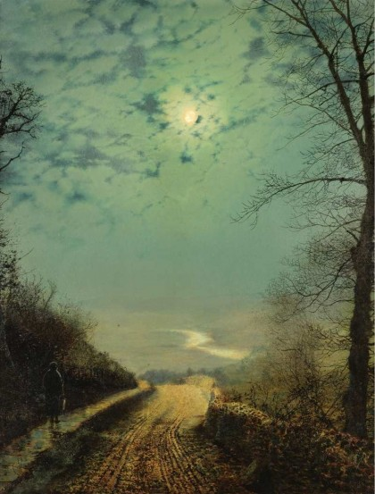John Atkinson Grimshaw - a-wet-road-by-moonlight-wharfedale