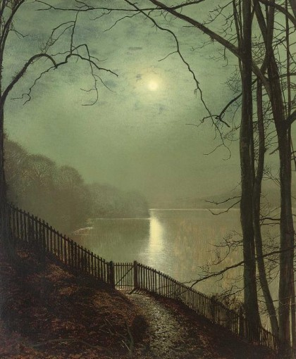 John Atkinson Grimshaw - moonlight-on-the-lake-roundhay-park-leeds