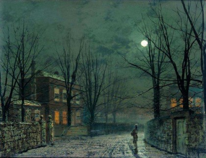 John Atkinson Grimshaw - old-hall-under-moonlight