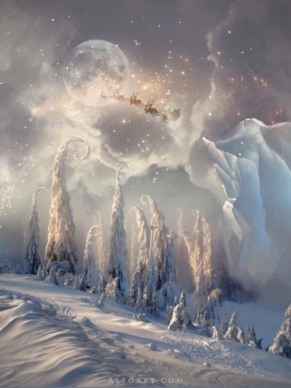 Christmas night magic scene with flying Santa, une oeuvre de AlexandraF sur deviantart