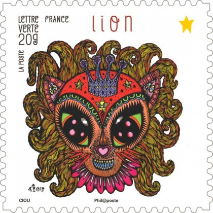 Timbre Lion illustré par Ciou