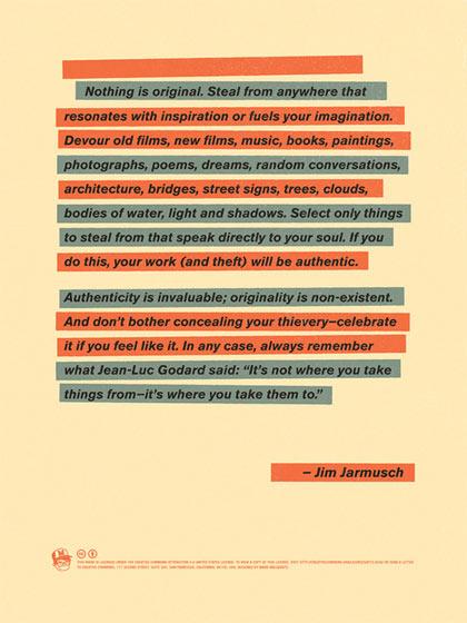 Citation de Jim Jarmusch sur le manque d'originalité