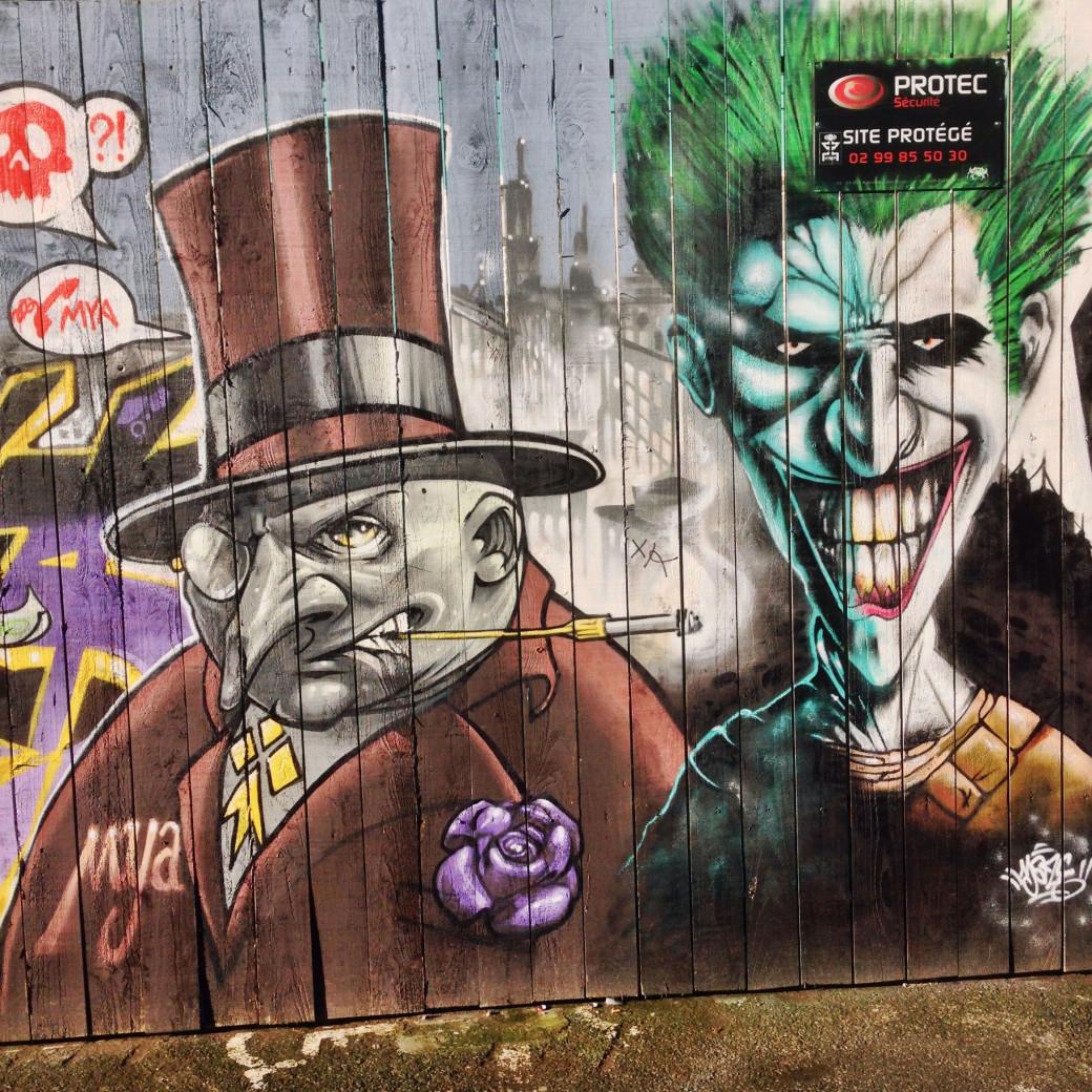 Le Pingouin et le Joker sur une fresque totalement hallucinante, à Rennes