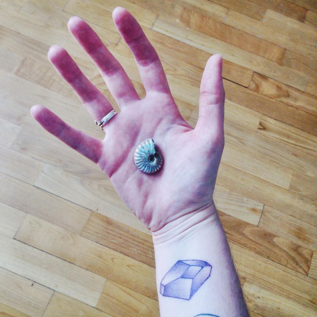 Ammonite opalisée… et mon tatouage par Dwam.
