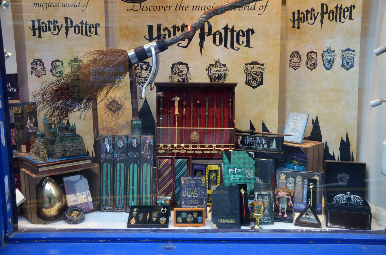 Vitrine consacrée à Harry Potter