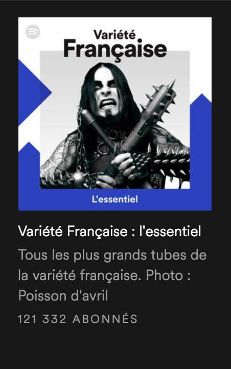 Une playlist variété française illustrée avec une photo de black metalleux