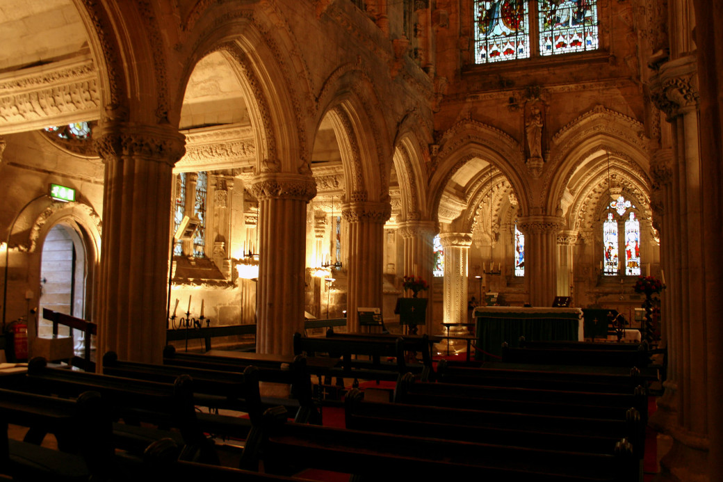 Illuminations intérieures de la Rosslyn Chapel