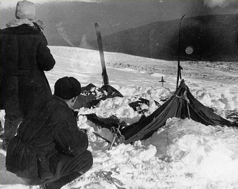 La tente telle qu'elle a été trouvée le 26 février 1959.